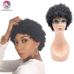 Mayorista Angelbella rizado en espiral Máquina completo peluca 8 pulgadas de corto Cabello pelucas 1b# Afro el cabello rizado peluca de desgaste de la belleza africana