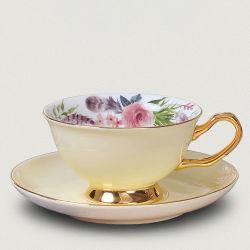 Чашка чая, кости Китая форму диска установите шаблон с цветочным рисунком керамические чашки кофе Drinkware фарфора