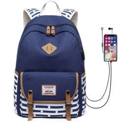 Voyager Outdoor School Lunch Bag Sac à dos de filles avec écouteurs et un port USB Duffle Bag Sac à dos Sacs Fashion Lady Stock