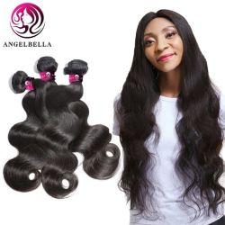 Angelbella 사람의 모발 도매 제비 대량 뭉치 직물 자연적인 까만 브라질 바디 파 머리 뭉치는 흑인 여성을%s 다룬다