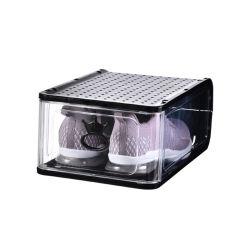 صندوق أحذية واحد قابل للتكديس بالكامل، حذاء بلاستيكي شفاف وكبير صناديق التخزين القابلة للطي التخزين خالية من العلب البلاستيكية لمنظم الأحذية القابل للتكديس