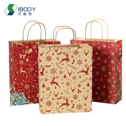 Сертификат Fsc крафт-коричневого цвета из переработанных продуктов упаковка сумка с ручками для рождественских подарков бумаги мешок