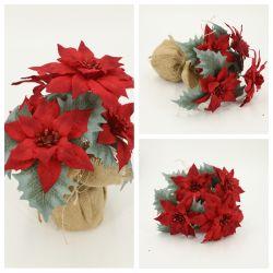 Рождественские украшения цветами Poinsettia с джутом Pot Dy1-1173