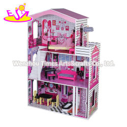 新しい到着の子供のエレベーターW06A355cが付いている大きい木の人形の家の家具セット