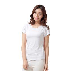 Les vêtements des filles Whit organiques dégradables T-shirt Femme plaine occasionnel bambou T Shirt Femmes