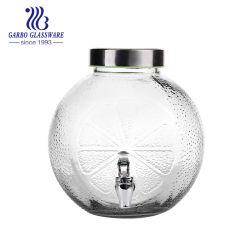 Bottiglia di vetro unica rotonda di memoria del vetro da bottiglia di alta qualità con il colpetto per il tè di ghiaccio del succo di arancia nell'uso della casa dell'hotel (GB211225166CZ)