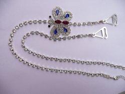 Cinghie di spalla Chain d'argento di lusso del reggiseno con gli ami del triangolo del Rhinestone della decorazione della farfalla