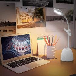 Lampada ricaricabile della Tabella del USB con il ventilatore elettrico ed il supporto della penna