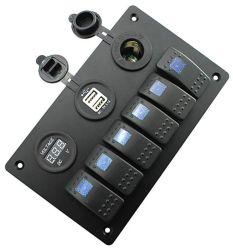 Marien Comité 6 van de Schakelaar van de Tuimelschakelaar Comité van de Knevelschakelaars van de Boot van de Troep het Waterdichte met de Digitale Contactdoos van de Aansteker van de Lader van de Macht USB van de Voltmeter Dubbele voor de Boot van de Auto
