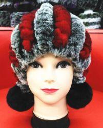 柔らかく、暖かいウサギの毛皮の帽子Hla-1