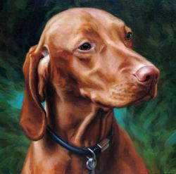 Pintura a óleo de um cão