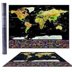 Amostra grátis de alta qualidade, design personalizado OEM raspar World Travel Cartaz Mapa com Acessório
