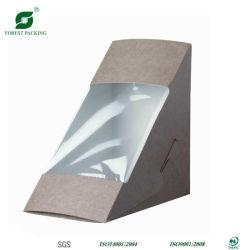 Triangle Sandwich Boîte d'emballage du papier avec fenêtre claire