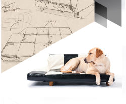 أريكة يمكن تحويلها إلى سرير كلب فاخر من الجلد القابل للطي من إنتاج شركة OEM