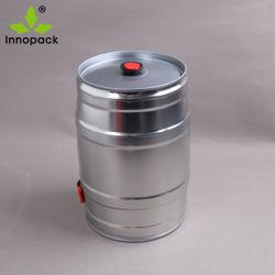 Minibier-Faß des Metall5l mit Schliessen und Hahn