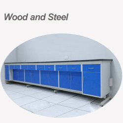 Biobaseの物質的なサイズおよびカラーによってカスタマイズされる木および鋼鉄学校陶磁器表の実験室の家具の実験室ベンチ