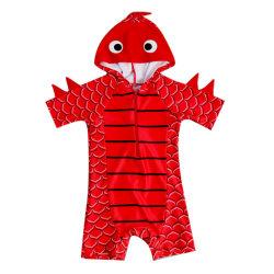 2020年の子供の男の子の恐竜のフード付きの水着の短い袖のプール浜の水着の幼児は赤ん坊の方法をからかう