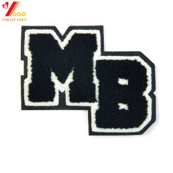 Letter Badges Chenille Yarn Embroidery Design For Fashion Garment