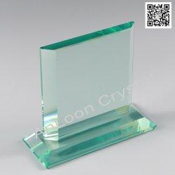 顧客のエッチング、ヒスイガラス、中国ガラス、ヒスイのトロフィ、ガラストロフィ、ガラスのためのヒスイのガラス賞