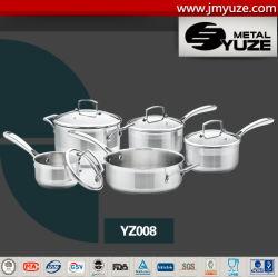 Cookware dell'acciaio inossidabile 9PCS, casseruola, POT e vaschette impostati, utensili della cucina