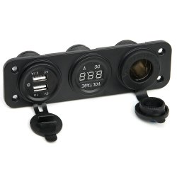 12V Universalität 3 in 1 Zigaretten-Feuerzeug Socket+3.1A verdoppeln USB-Energien-Adapter-Aufladeeinheit + Voltmeter LED-Digital mit Schalter-Panel