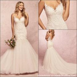 Kundenspezifische Hochzeits-Kleid-Isolationsschlauch-Spitze-Nixe-Brautkleid 2019 H9088