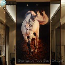 Nouveau style abstrait mur White Horse peinture sur verre (MR-YB17-817)