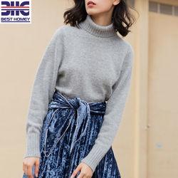 여자 간단한 태양열 집열기 자라목 스웨터 늑골 스웨터