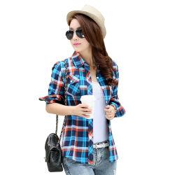 형식 여자 블라우스 긴 소매는 고리 격자 무늬 우연한 셔츠를 돈다 아래로