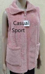 レディースベストの女性は細い適合の厚いベストの北極の羊毛の高い首のジャケットのベストの上の偶然のスポーツのばねの秋のジッパーを暖める