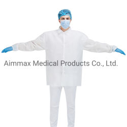 Wasserdichtes medizinisches/chirurgisch/Krankenhaus/zahnmedizinischer/nichtgewebter mikroporöser/Poly/SMS/CPE/PP+PE schützender Wegwerflabormantel für Doktor/Patienten/Besucher/Industrie-Sicherheit