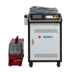 مبيعات ساخنة 1000 واط الليزر معدات اللحام 1500 واط آلة اللحام المحمولة باليد ماكينة لحام الليزر برأس التذبذب مع نظام وحدة التغذية السلكية التلقائية