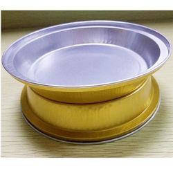 Ronda vajilla pequeños roces High-Grade plato de comida rápida de lámina de aluminio desechable Caja de comida para llevar la lámina de estaño de la capacidad de oro cuadro personalizado