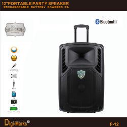 '' altavoz móvil del Active de Bluetooth de la carretilla del Karaoke del baile de DJ del partido 12