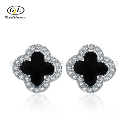 製造業者は女性を925の純銀製の韓国の黒い宝石のイヤリング卸し売りする
