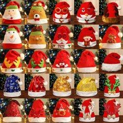 Cappelli rossi su ordinazione promozionali di natale del cappello 2020 poco costosi della Santa dei cappelli di natale per gli adulti dei capretti