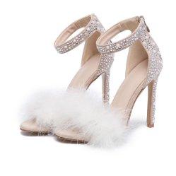 إشارة بلّوريّة كاحل شريط ريش مصمّم سيئات يتزوّج أحذية لأنّ عروس نساء