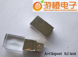 De transparante die Aandrijving van de Flits USB van Kristal en Metaal wordt gemaakt (om-C102)