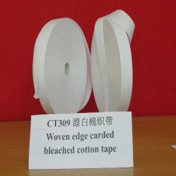 Tissus de fils cardés chiffon de coton blanchie Edge/Tape (CT309)