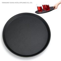 Redondo de color negro de la bandeja de plástico Anti Skid camarero Bar Pub que sirve bebidas alimentos bandeja antideslizante