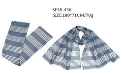 Tecidos de poliéster Pombo Luz lenço azul no Outono de mola com Listra Branca xale da Malásia