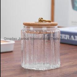 Vollständiger Verkaufs-bewegliches gedichtetes Speicher-Glasglas/Behälter mit Bambusdeckel