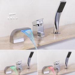 [مندل] مغسل مربّع أسلوب ظهر مركب يعلى وحيدة مقبض [لد] ضوء مع 3 لون شلال حوض صنبور