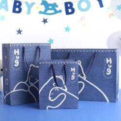 新しいデザイン赤ん坊の衣服の包装のための青い印刷紙袋