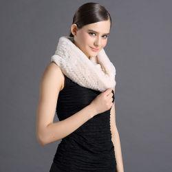 Commerce de gros de l'hiver chaude fourrure de lapin Rex réel écharpe châle