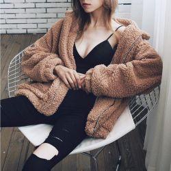 [فوإكس] [فور كت] نساء دافئ ليّنة سحاب فروة دثار أنثى قطيفة معطف [أوتور] لعبة عرضيّ
