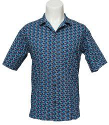 남자의 우연한 면 파란과 회색 인쇄된 반 소매를 단 셔츠