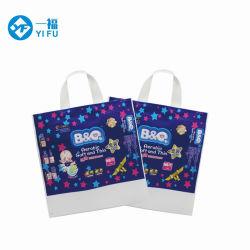 Commerce de gros imprimés personnalisés le PEBD Poly Diaper Housse de transport poignée soudé un sac de shopping en bas de la cornière de sacs avec des logos personnalisés extensible