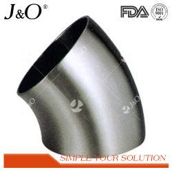 Les mesures sanitaires en acier inoxydable poli mat 45 degrés DIN forgé court de soudure du raccord de tuyau coudé