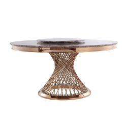 贅沢なローズの金のPaitingのステンレス鋼の家具の円形のダイニングテーブル